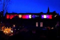 Animation laser et illumination de la façade de la Maison-Dieu pour l'annonce de FEST'Hiver 2019 - Montmorillon (86)