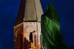 Clocher de la Chapelle Saint-Laurent et statue du Cardinal Pie - Montmorillon - Fest'hiver 2020 - Polisto