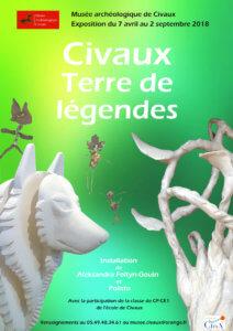 """Affiche de l'installation """"Civaux Terre de légendes""""- Aleksandra Foltyn et Polisto 2018."""