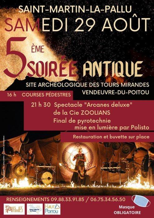 Affiche de la Soirée Antique 2020 sur le site gallo-romain des Tours Mirandes.